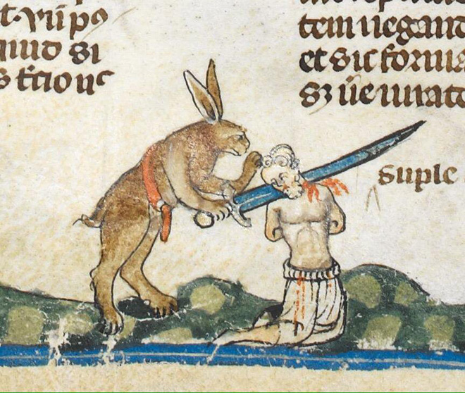 Bunnies were very violent in medieval art.