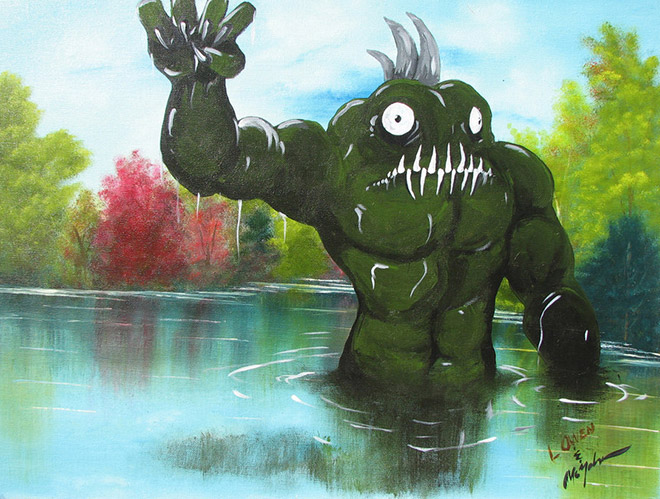 Monster added to charity shop painting.