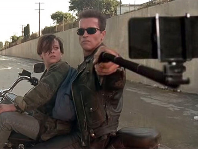 Make selfies not war! Turning threatening scenes into pure 21st century narcissism one movie at a time.