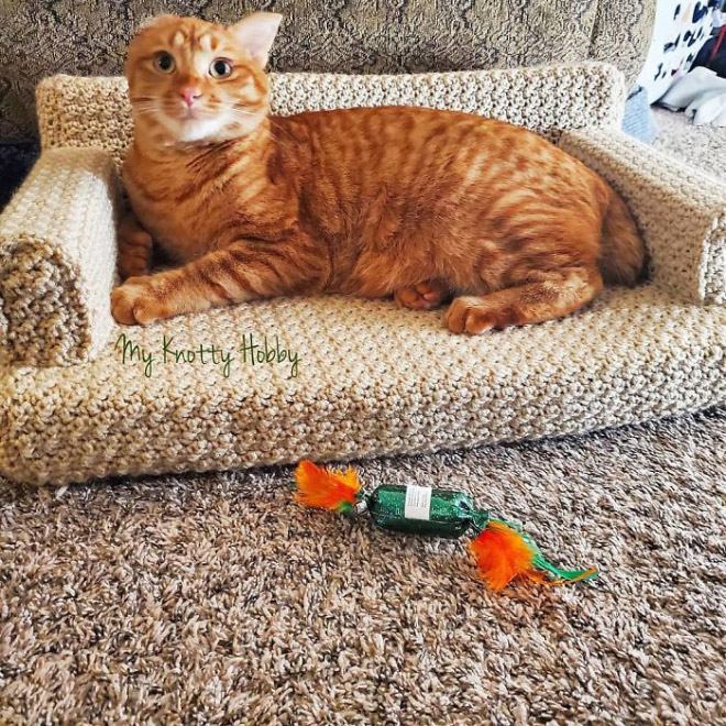Crocheted kitty couch.