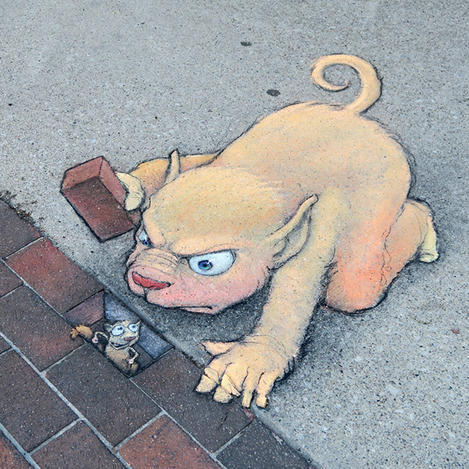 Awesome 3D chalk art.