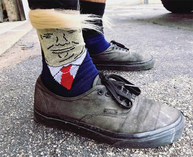 Donald Trump comb-over socks.