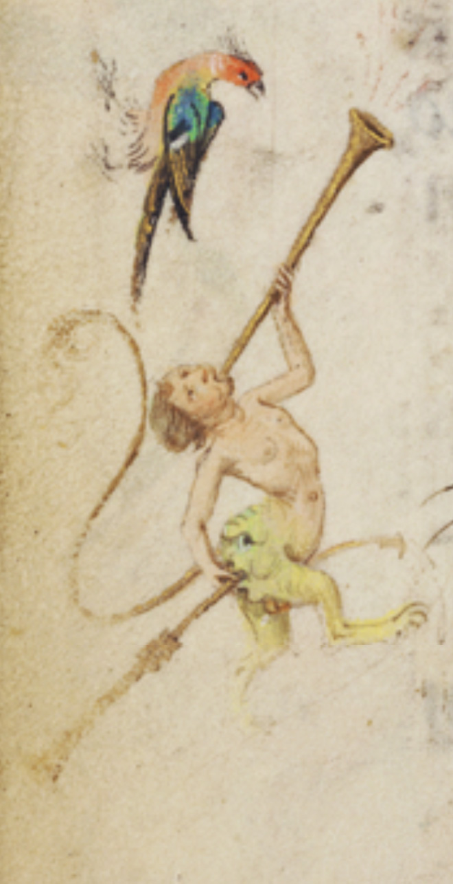 Medieval butt trumpeter.