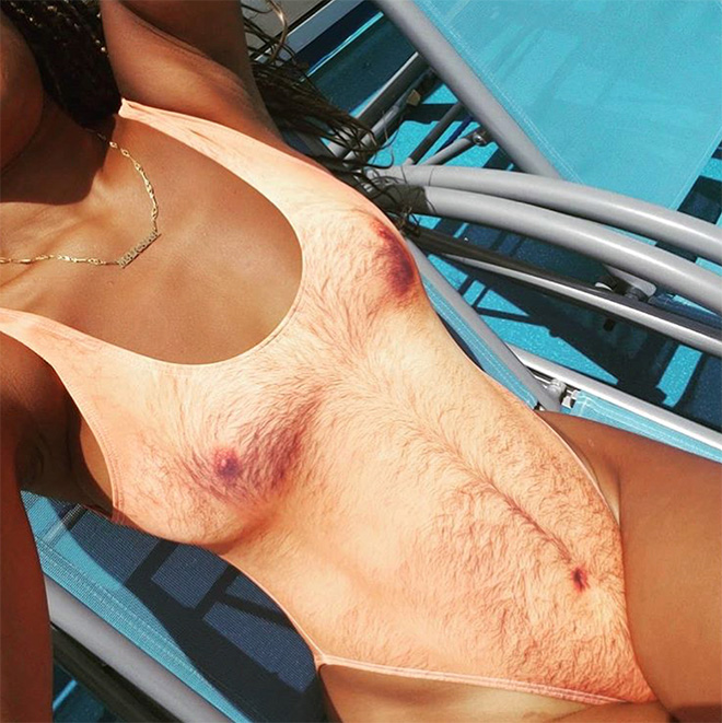 Weird hairy swimsuit.