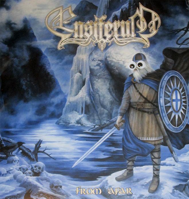 Heavy metal album with googly eyes.