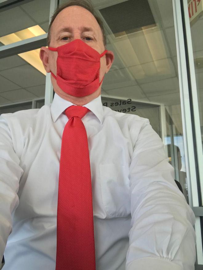 Mask matched with a tie.