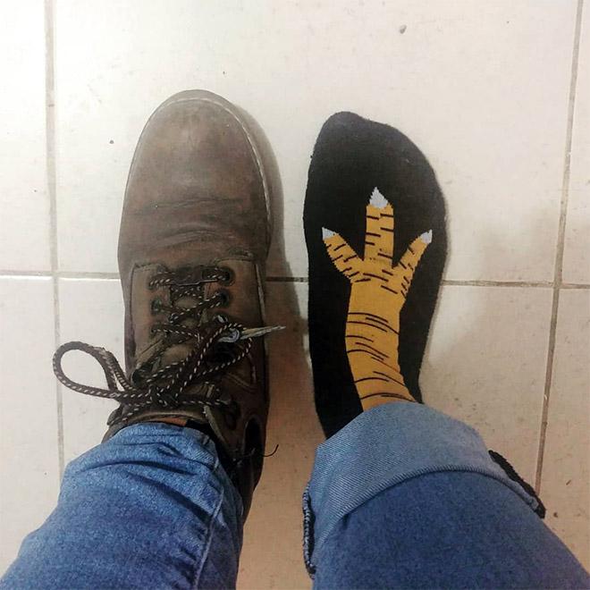 Funny chicken leg socks.
