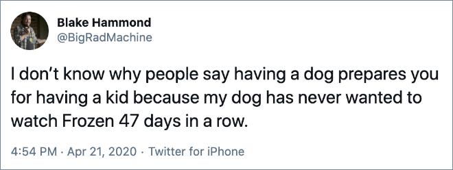 Funny parenting tweet.