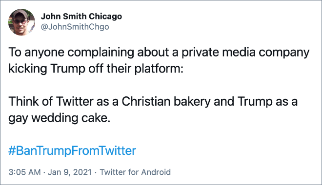 Funny reaction to Twitter banning Trump.