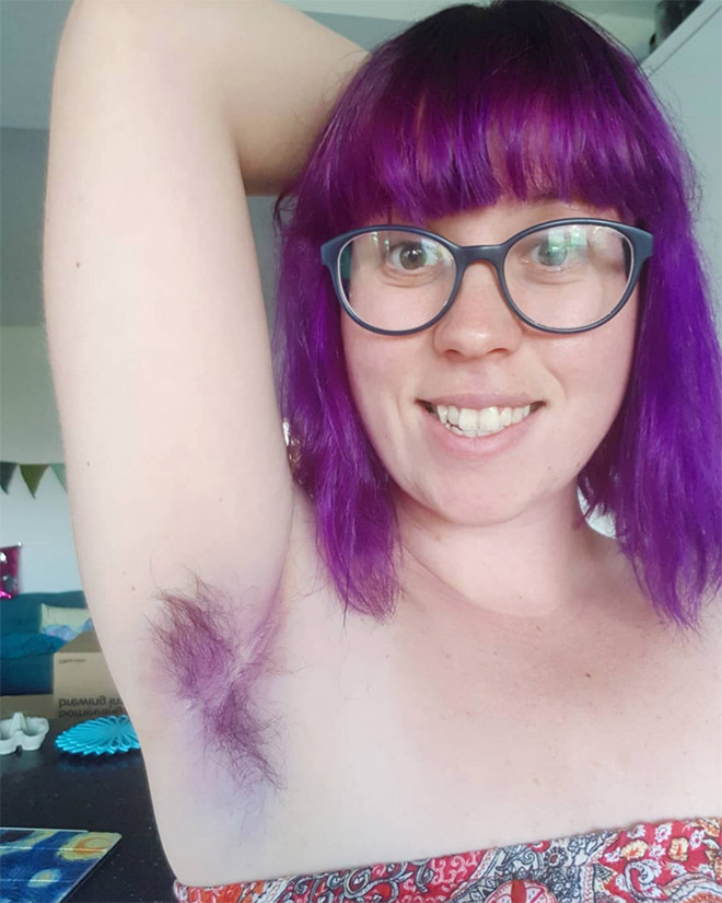 Colorful armpit hair Instagram trend.