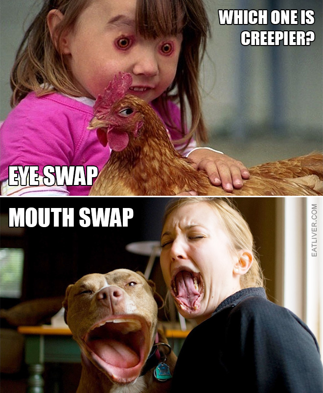 Which one is creepier: eye swap or mouth swap?