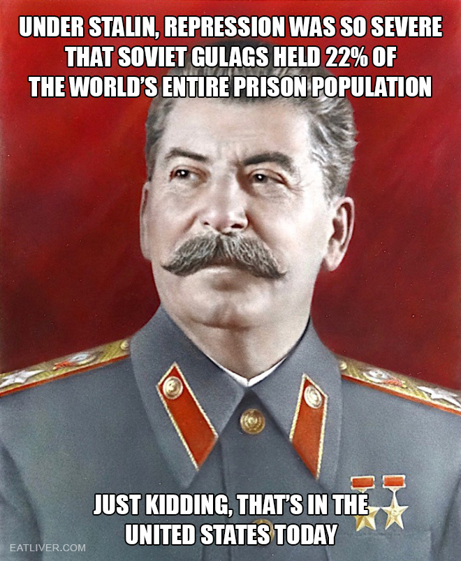 Under Stalin, repression was so severe that Soviet Gulags held 22% of the world's entire prison population. Just kidding, that's in the United States today.