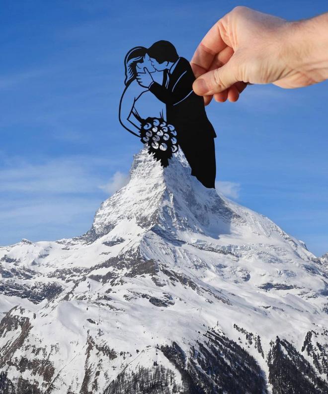 When paper cutouts meet real landmarks.