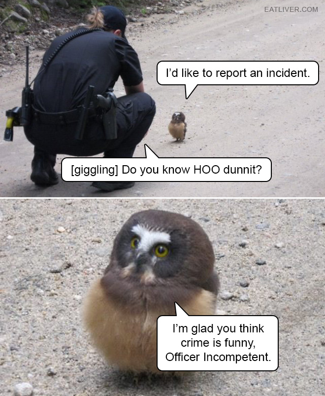 I'd like to report an incident. [giggling] Do you know HOO dunnit? I'm glad you think crime is funny, Officer Incompetent.