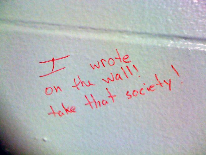 Brilliant toilet graffiti.